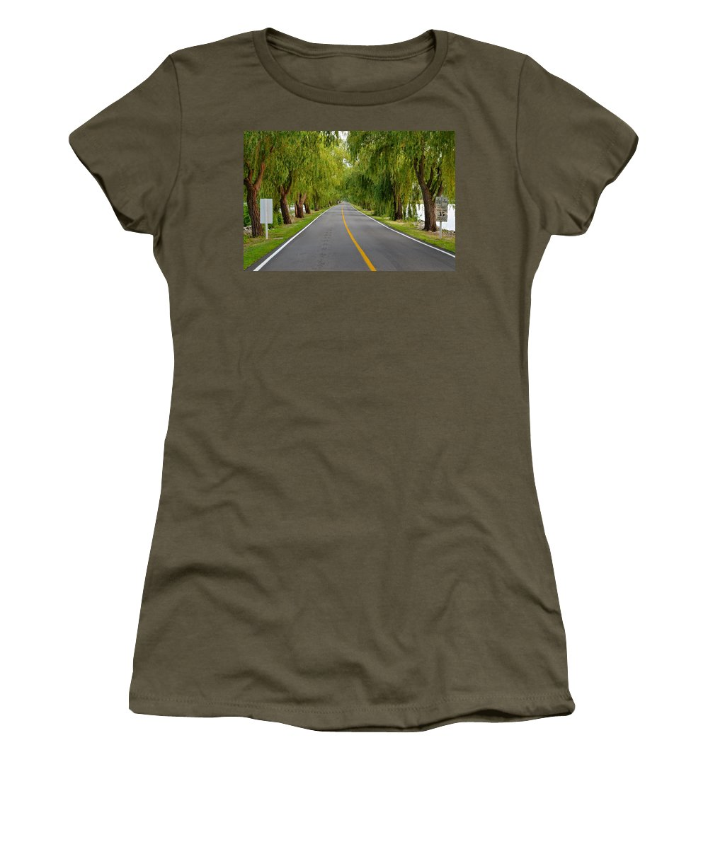 Road Women's T-Shirt featuring the photograph Lovers Lane by Frozen in Time Fine Art Photography