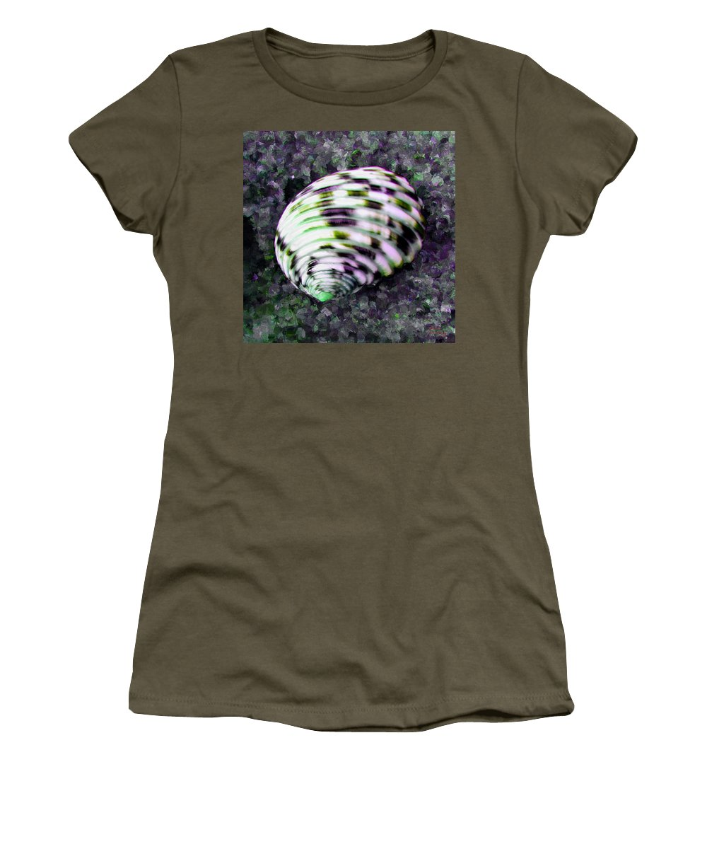 Shell Women's T-Shirt featuring the painting Nerita Versicolor Four-tooth Nerite Shell by Bruce Nutting