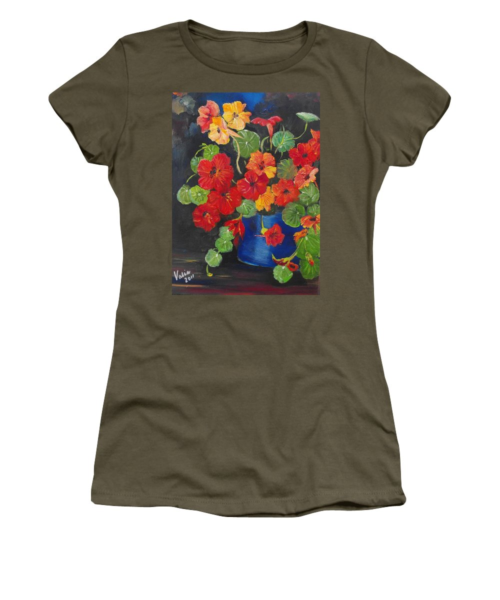 Nasturtiums Women's T-Shirt featuring the painting Night Nasties by Valerie Curtiss
