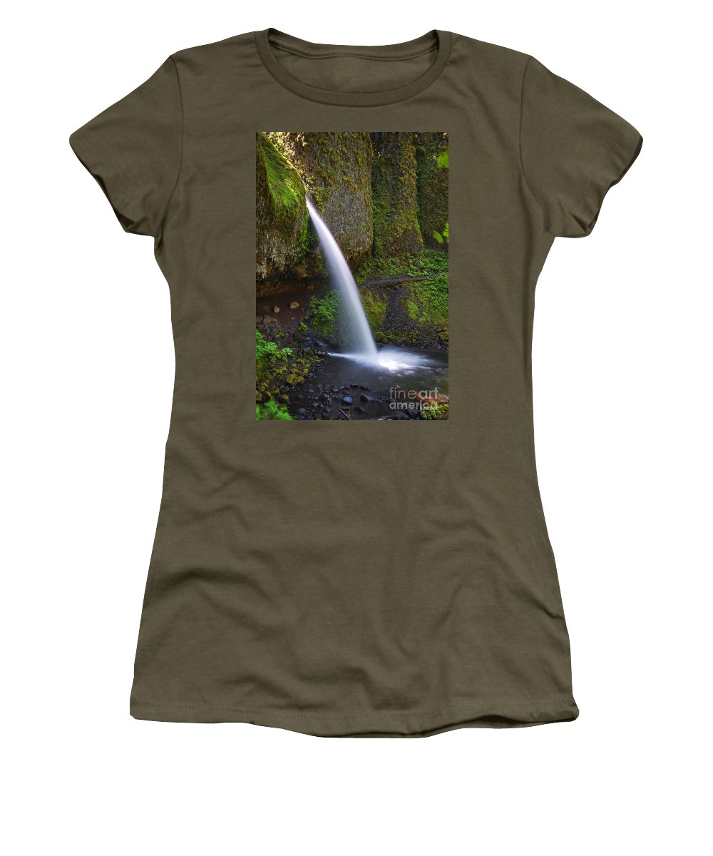Ponytail Falls Women's T-Shirt featuring the photograph Ponytail Falls - Columbia River Gorge - Oregon by Yefim Bam