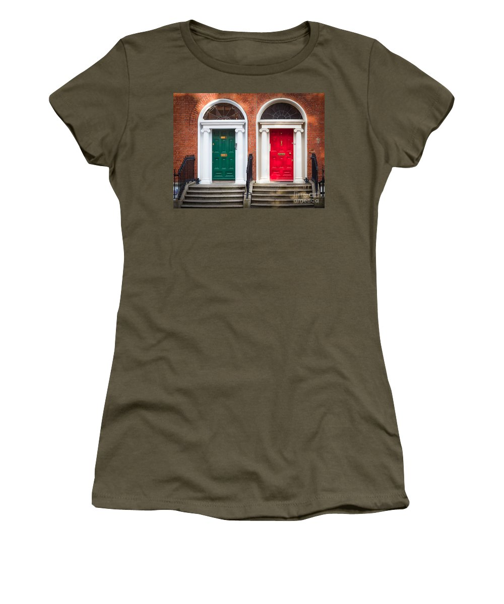 Architecture Women's T-Shirt featuring the photograph Red And Green by Inge Johnsson