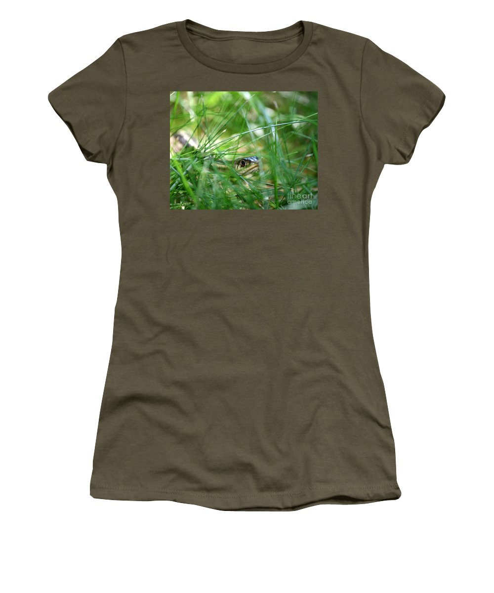 Ribbonsnake Women's T-Shirt featuring the photograph Snake In The Grass by Neal Eslinger