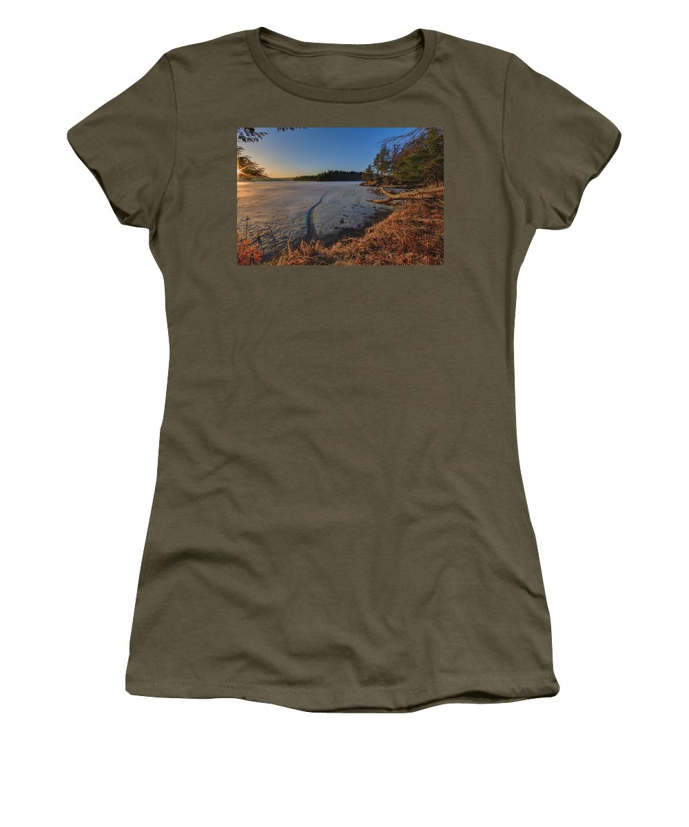 Redwood Women's T-Shirt (Athletic Fit) featuring the photograph Sunrise On Millsite Lake by Everet Regal