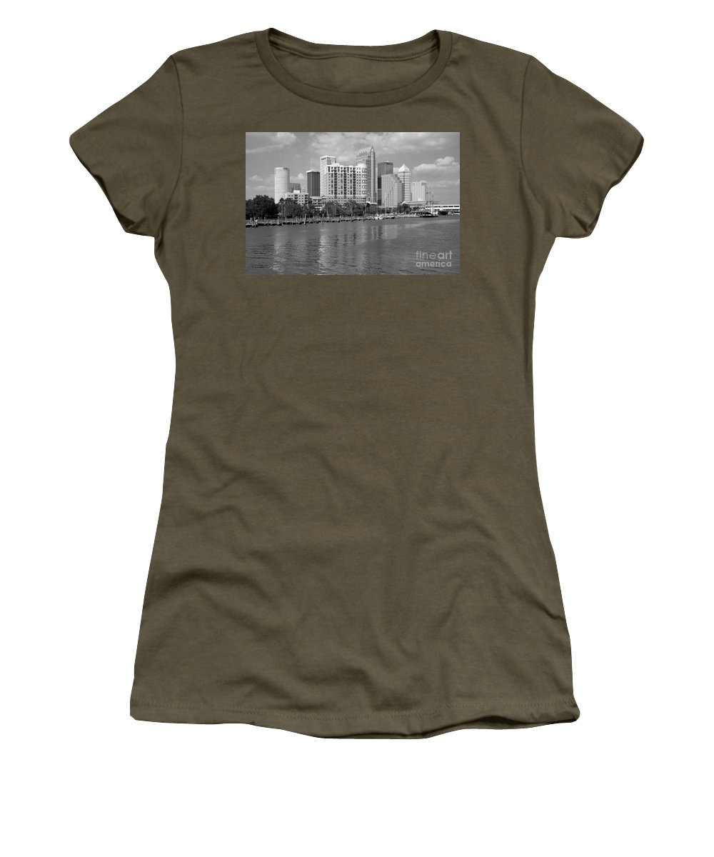 Black And White Women's T-Shirt featuring the photograph Tampa Skyline From Davis Islands by Bill Cobb