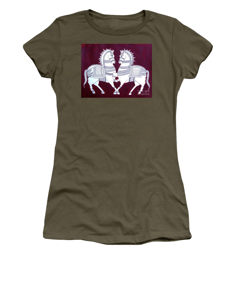 Horses In Ink And Acrylic Women's T-Shirt (Athletic Fit) featuring the mixed media Two Horses by Asha Sudhaker Shenoy