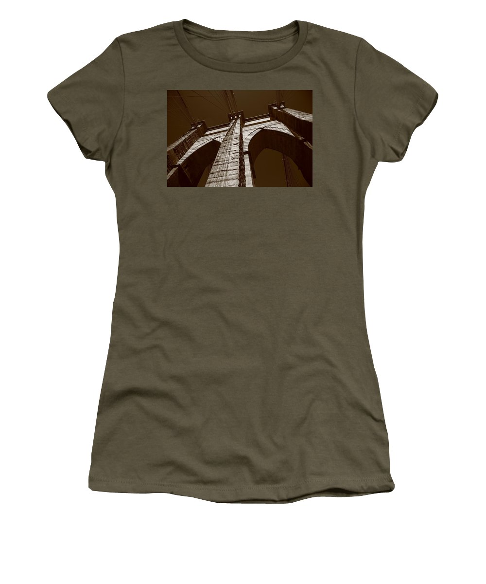 America Women's T-Shirt featuring the photograph Brooklyn Bridge - New York City by Frank Romeo