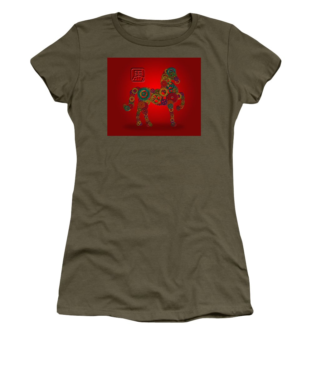 Chinese Women's T-Shirt featuring the photograph 2014 Chinese Wood Gear Zodiac Horse Red Background by Jit Lim