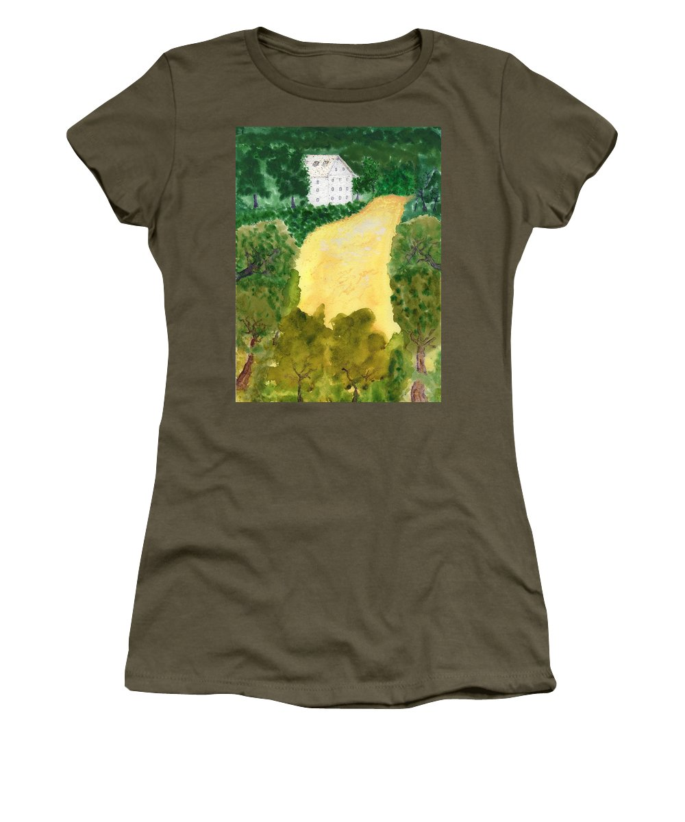 Jim Taylor Women's T-Shirt (Athletic Fit) featuring the painting 21 Room House On Golden Lake Dream by Jim Taylor