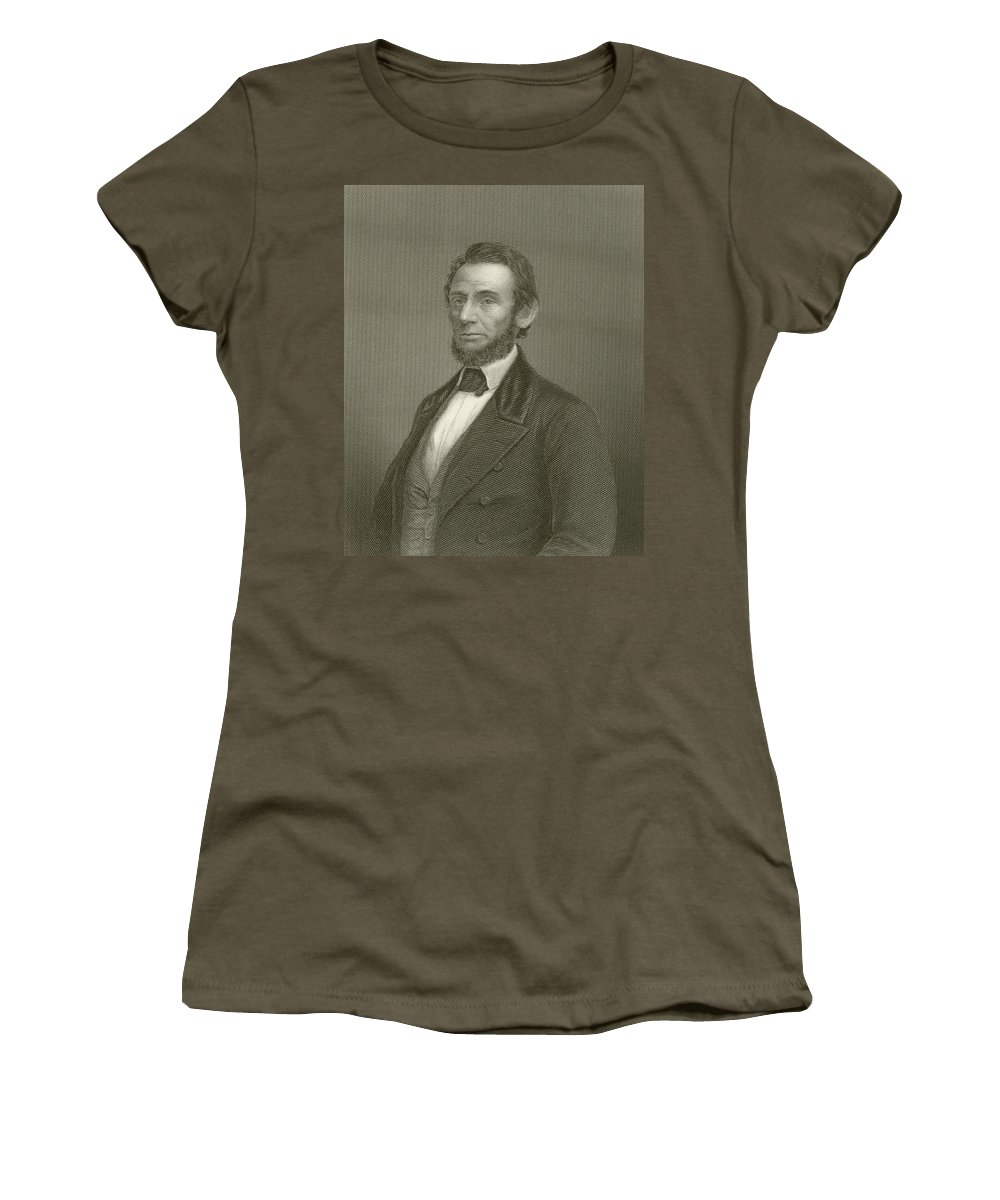 Abraham Lincoln Women's T-Shirt featuring the drawing Abraham Lincoln by English School
