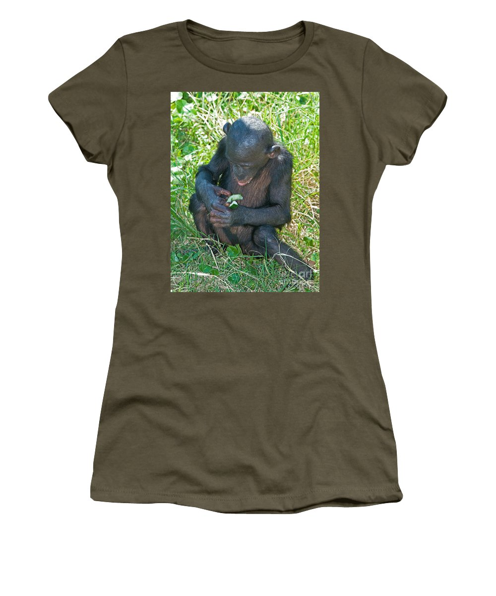 Nature Women's T-Shirt featuring the photograph Bonobo Baby by Millard H. Sharp