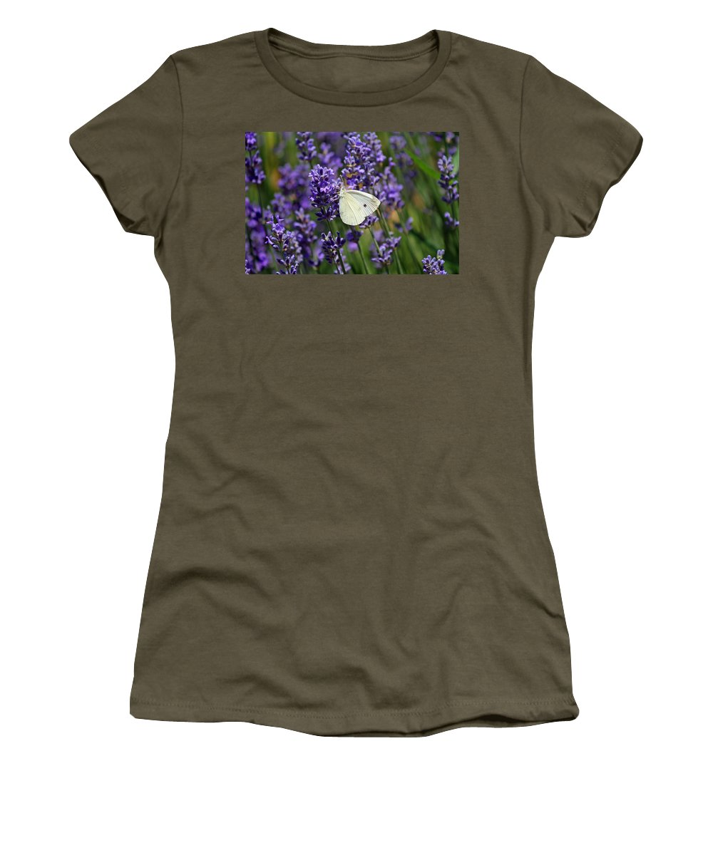 Butterfly Women's T-Shirt (Athletic Fit) featuring the photograph Cabbage White Butterfly by Karen Adams