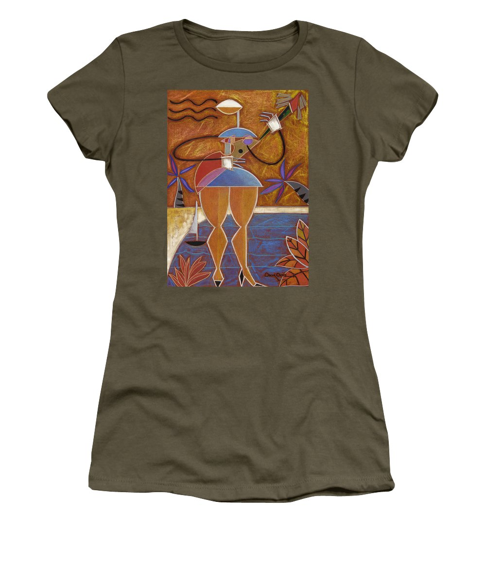 Colorful Women's T-Shirt (Athletic Fit) featuring the painting Cuatro Caliente by Oscar Ortiz