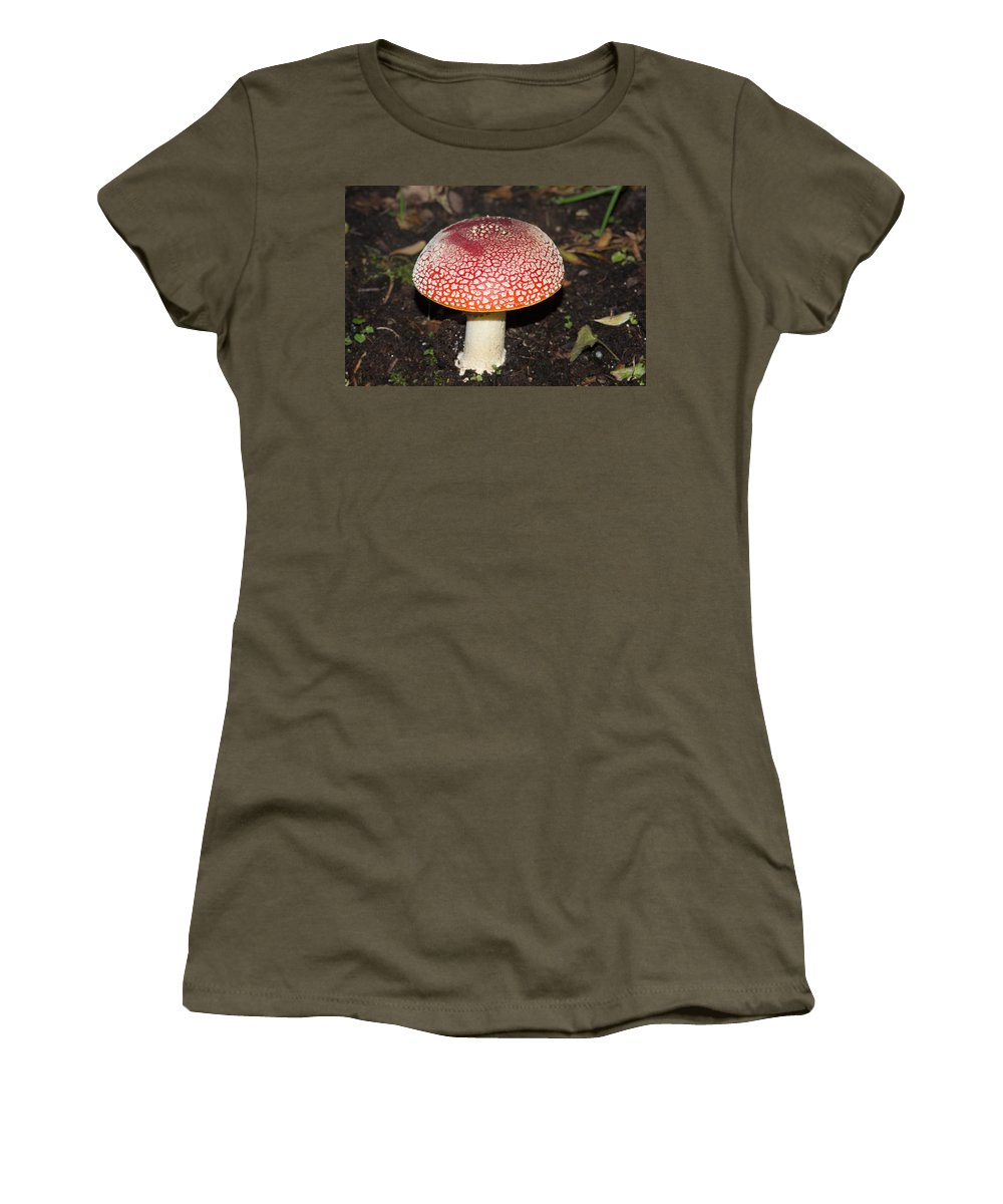 Amanita Muscaria Women's T-Shirt (Athletic Fit) featuring the digital art Fairy Mushrooms by Carol Ailles