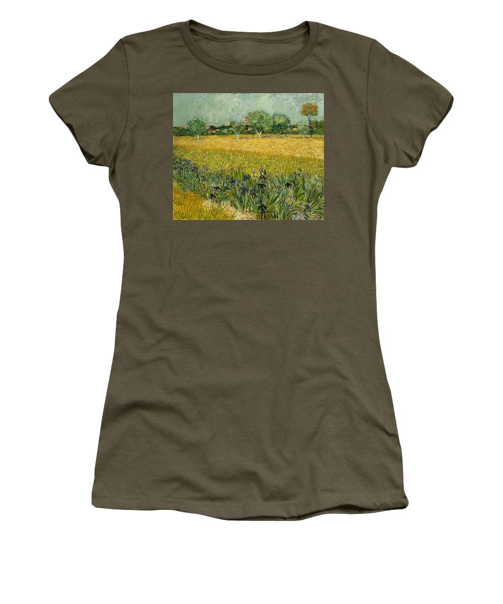 Painting Women's T-Shirt featuring the painting Field With Flowers Near Arles by Mountain Dreams