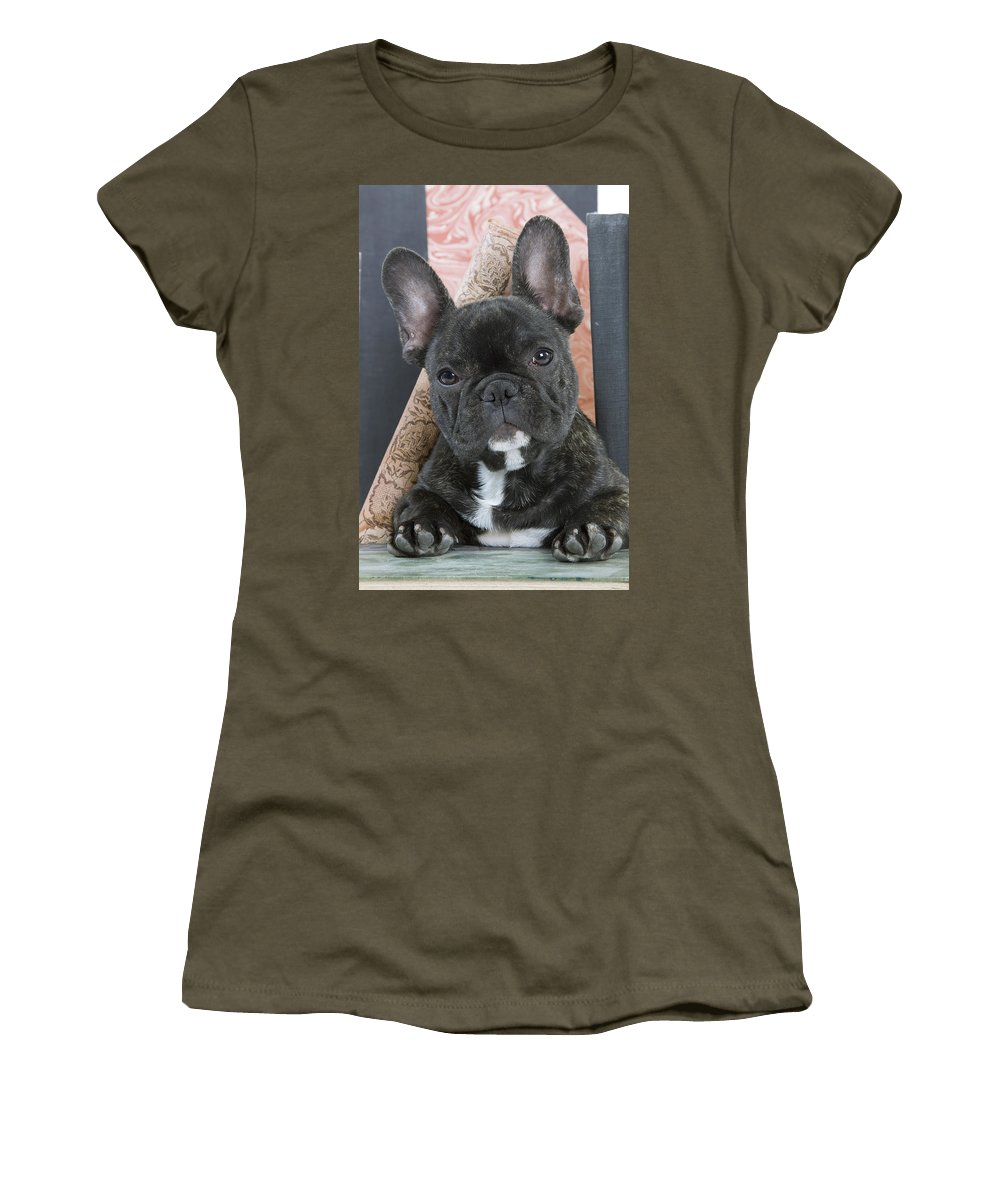 Dog Women's T-Shirt featuring the photograph French Bulldog Puppy by Jean-Michel Labat