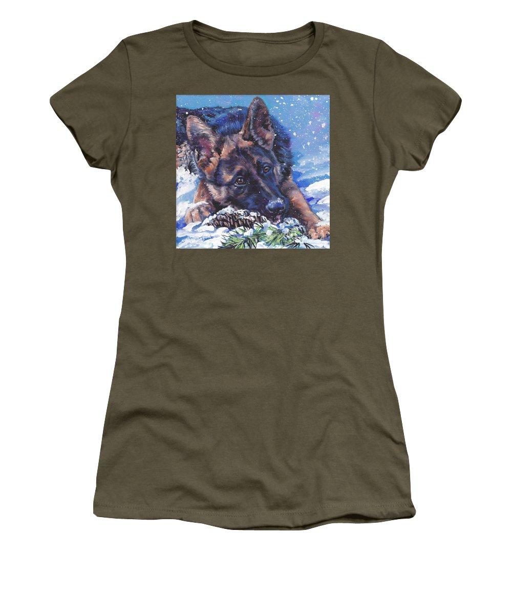 German Shepherd Women's T-Shirt featuring the painting German Shepherd by Lee Ann Shepard