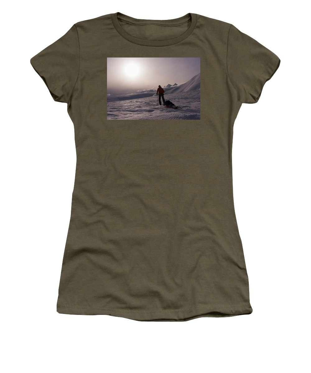 Adventure Women's T-Shirt featuring the photograph Glacier Geology Phd Student Skis by Dan Shugar