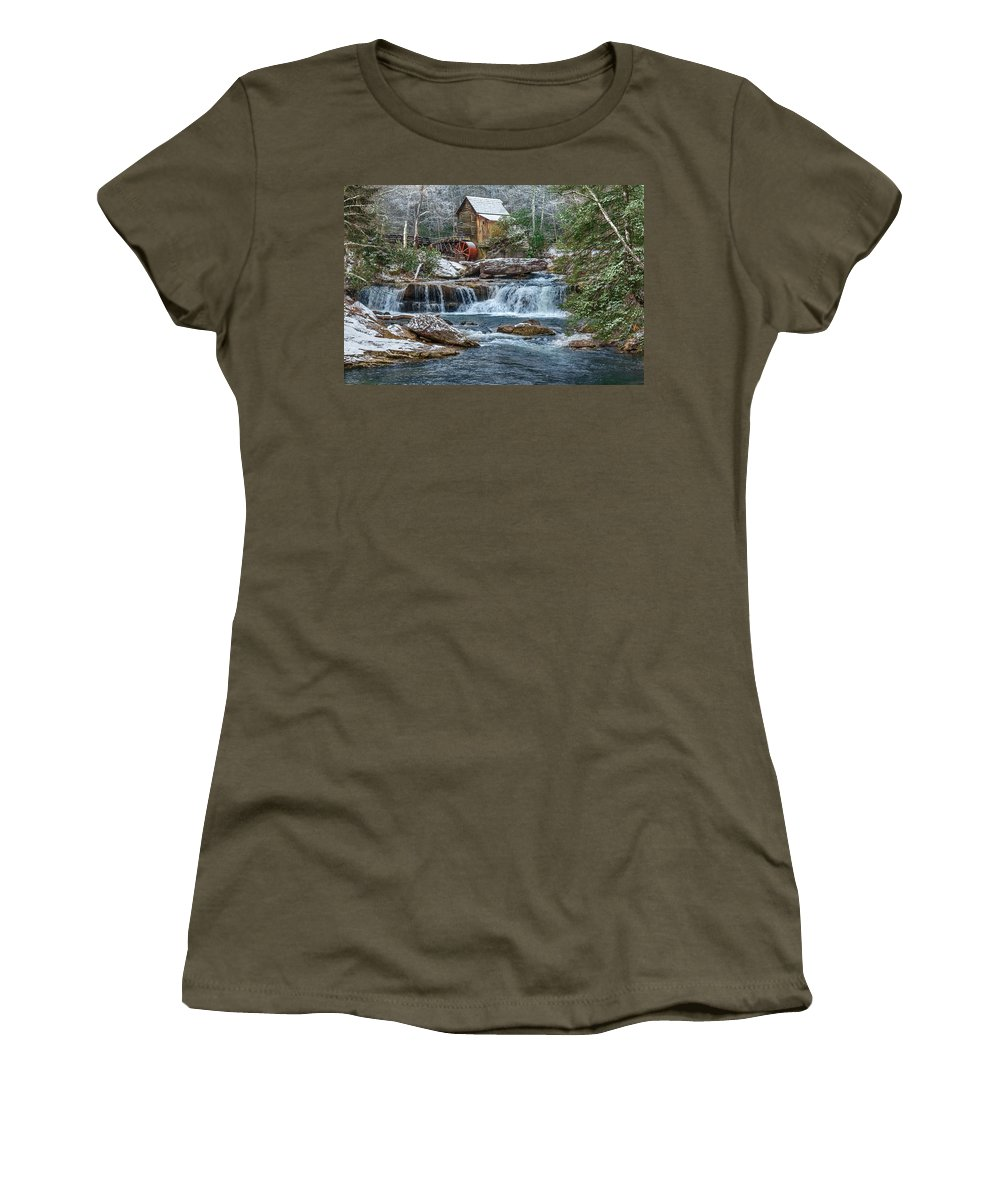 Babcock State Park Women's T-Shirt featuring the photograph Glade Creek Grist Mill by Mary Almond