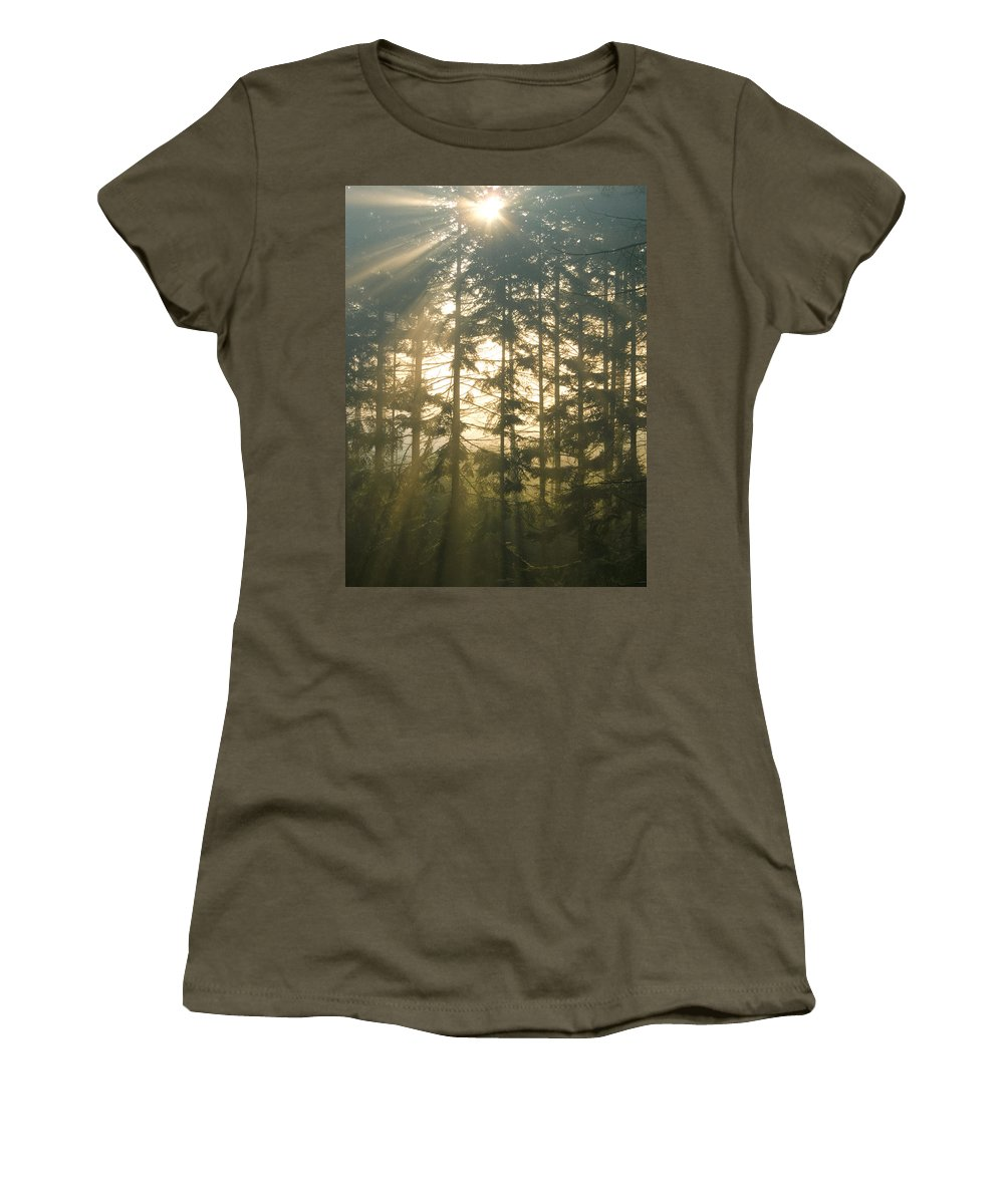 Nature Women's T-Shirt (Athletic Fit) featuring the photograph Light In The Forest by Daniel Csoka
