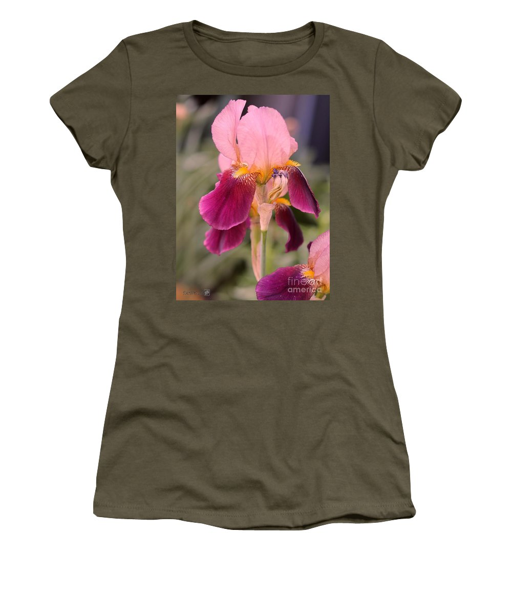 Mccombie Women's T-Shirt (Athletic Fit) featuring the photograph Tall Bearded Iris Named Indian Chief by J McCombie