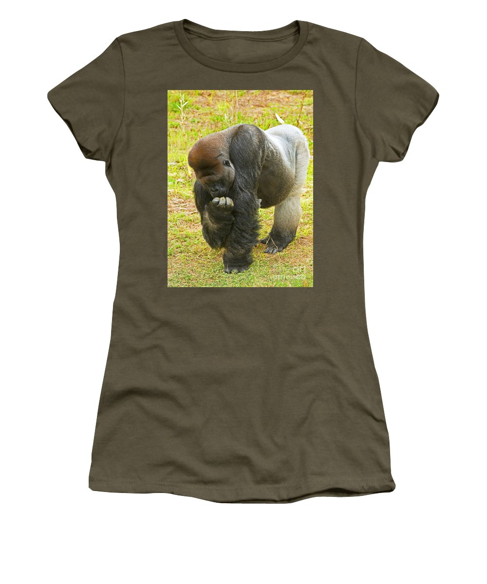 Nature Women's T-Shirt featuring the photograph Western Lowland Gorilla Male by Millard H. Sharp