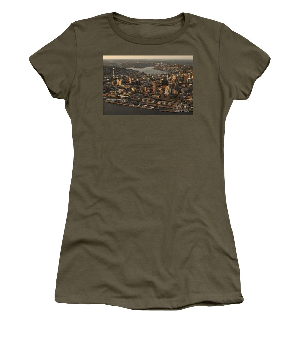 Elliott Bay Women's T-Shirt featuring the photograph Aerial View Of Seattle Skyline Along Waterfront by Jim Corwin