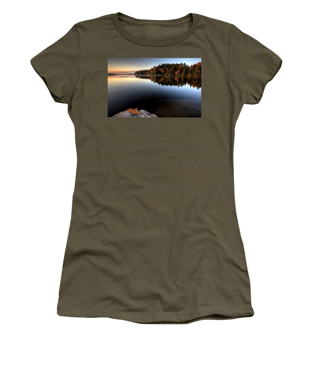 Bright Women's T-Shirt featuring the photograph Lake In Autumn Sunrise Reflection by Mark Duffy