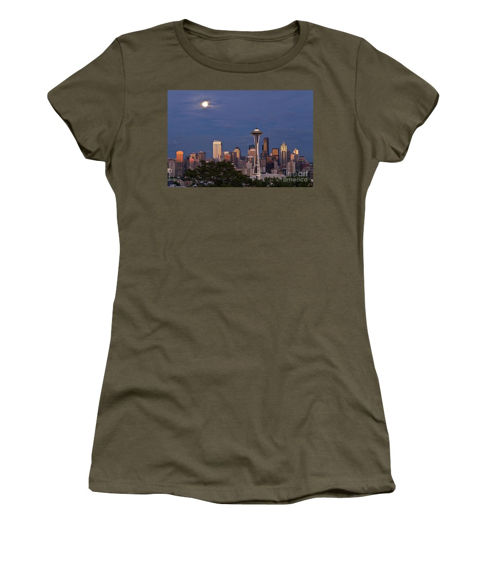 Kerry Park Women's T-Shirt featuring the photograph Seattle Skyline With Moonrise And Space Needle by Jim Corwin
