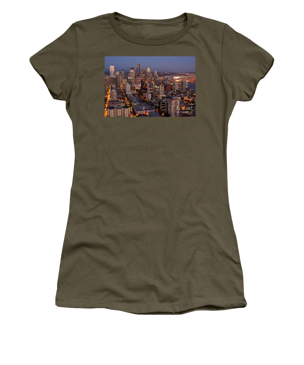 Elliott Bay Women's T-Shirt featuring the photograph Seattle Skyline With Mount Rainier And Downtown City Lights by Jim Corwin