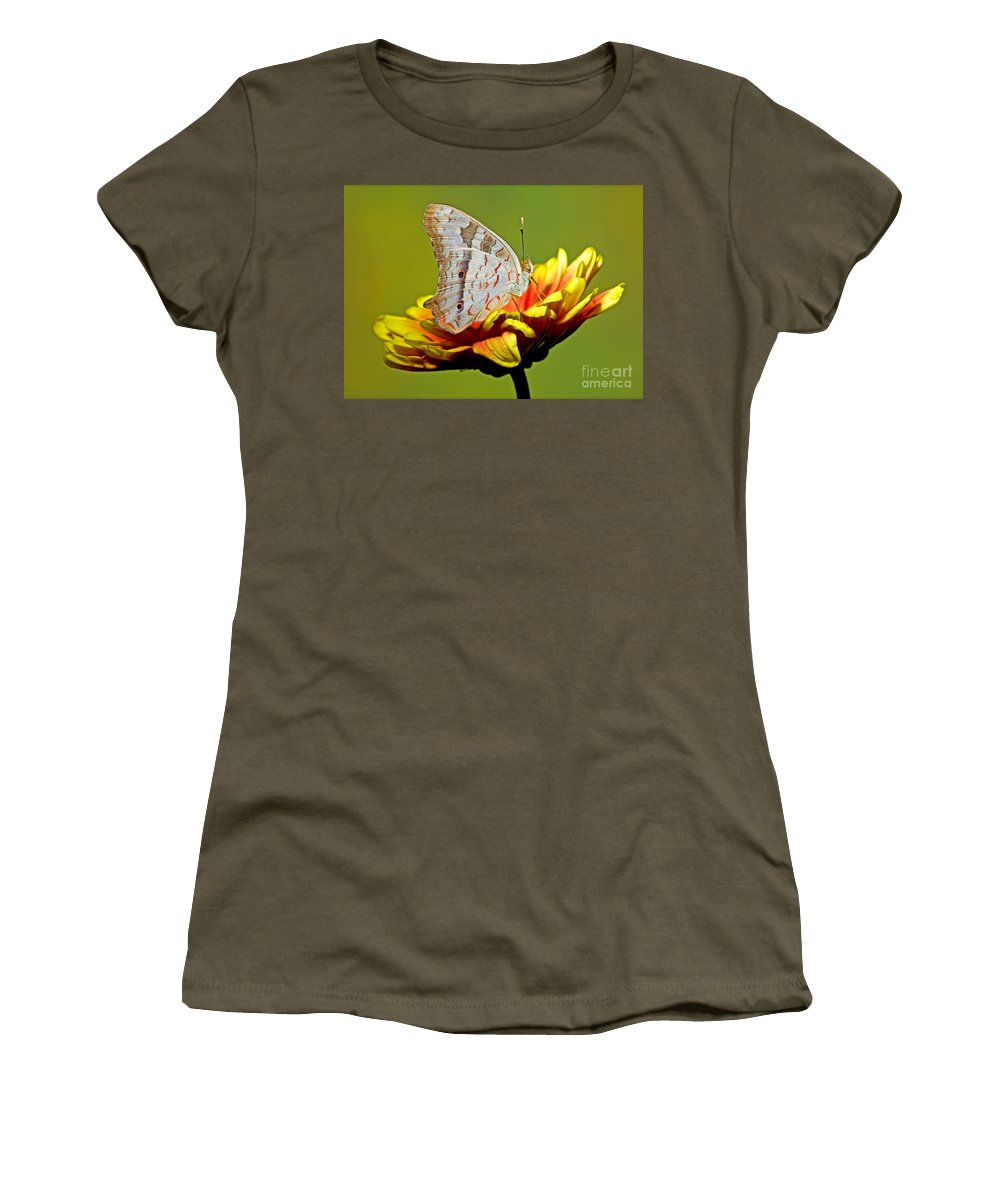 White Peacock Butterfly Women's T-Shirt featuring the photograph White Peacock Butterfly by Millard H. Sharp