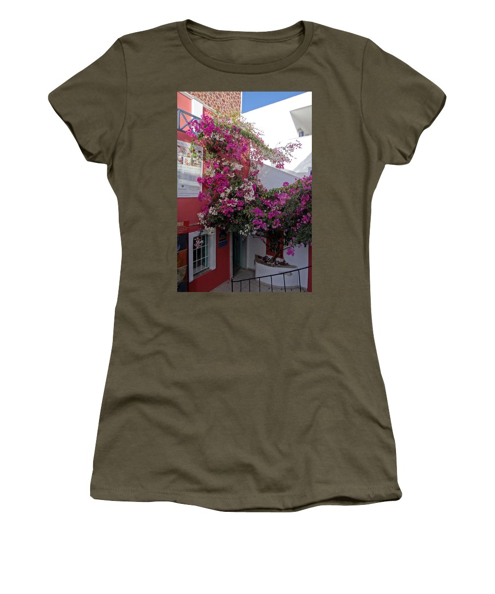 Santorini Women's T-Shirt featuring the photograph Views Of Santorini Greece by Richard Rosenshein