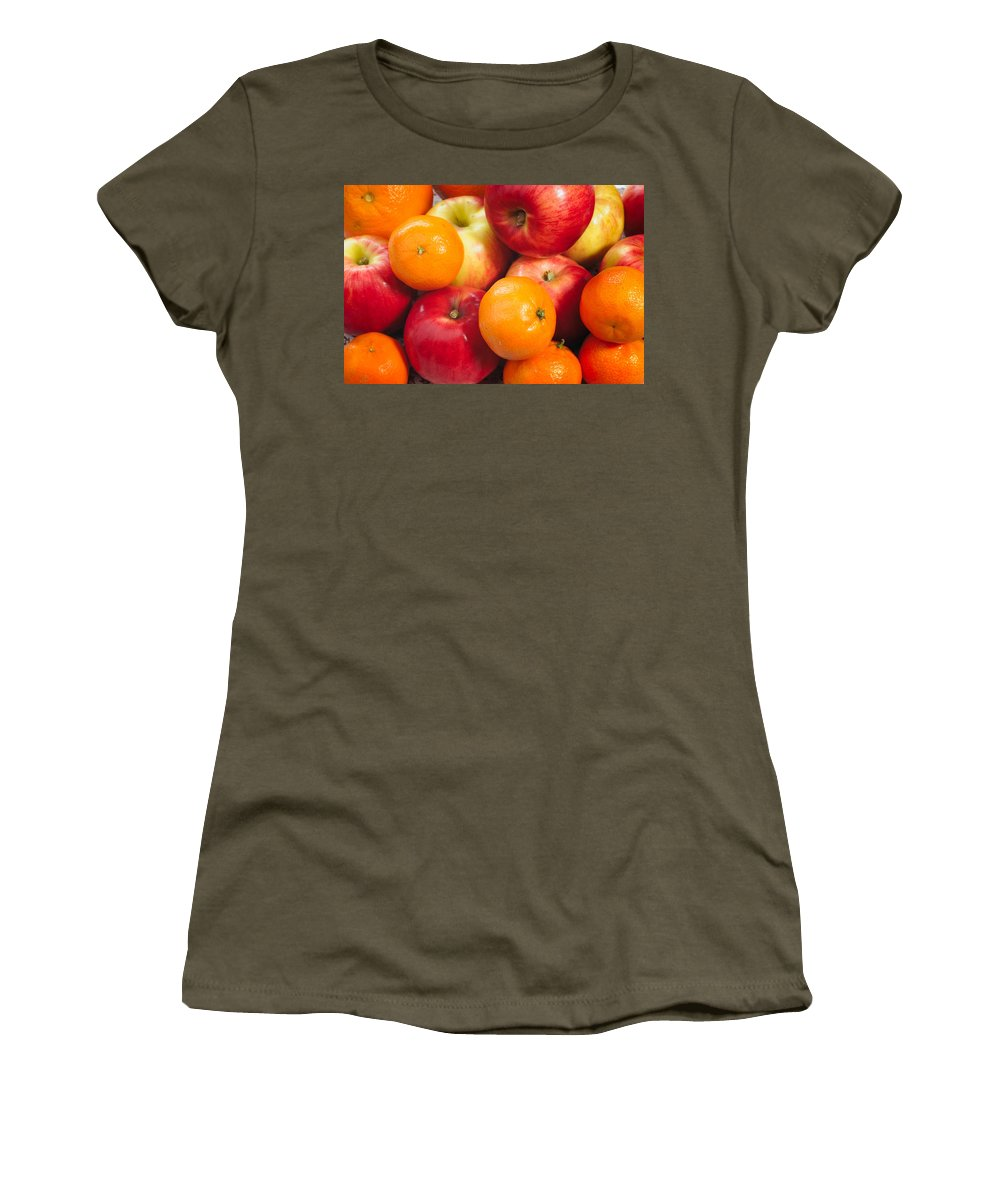 Agriculture Women's T-Shirt featuring the photograph Apple Tangerine And Oranges by Alain De Maximy