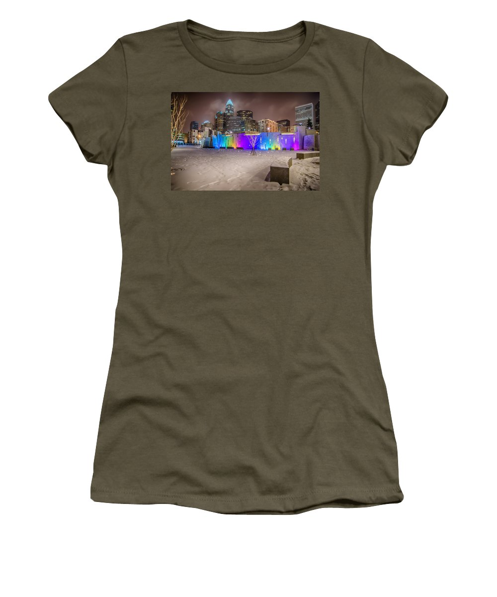 Charlotte Women's T-Shirt featuring the photograph Charlotte Queen City Skyline Near Romare Bearden Park In Winter Snow by Alex Grichenko