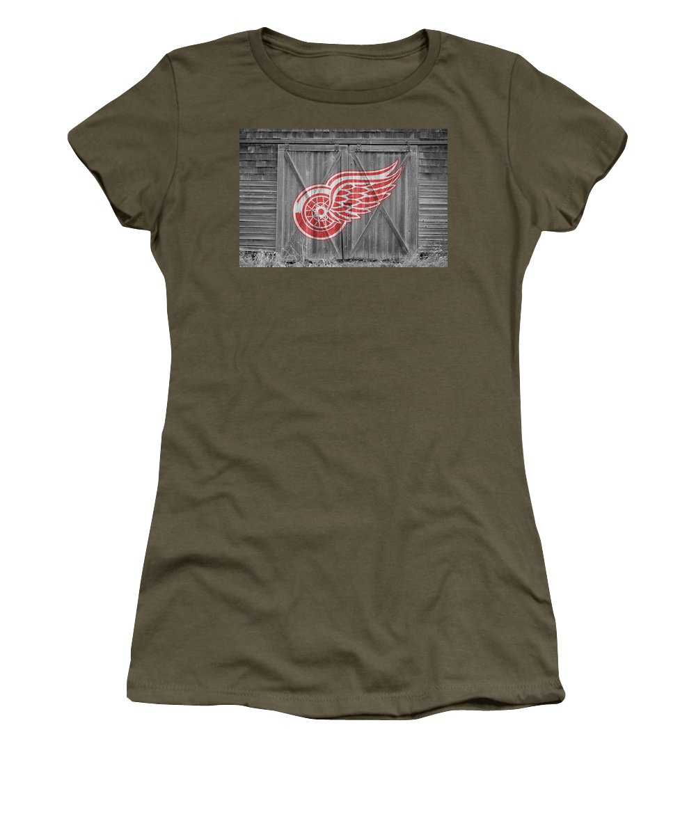 Red Wings Women's T-Shirt (Athletic Fit) featuring the photograph Detroit Red Wings by Joe Hamilton