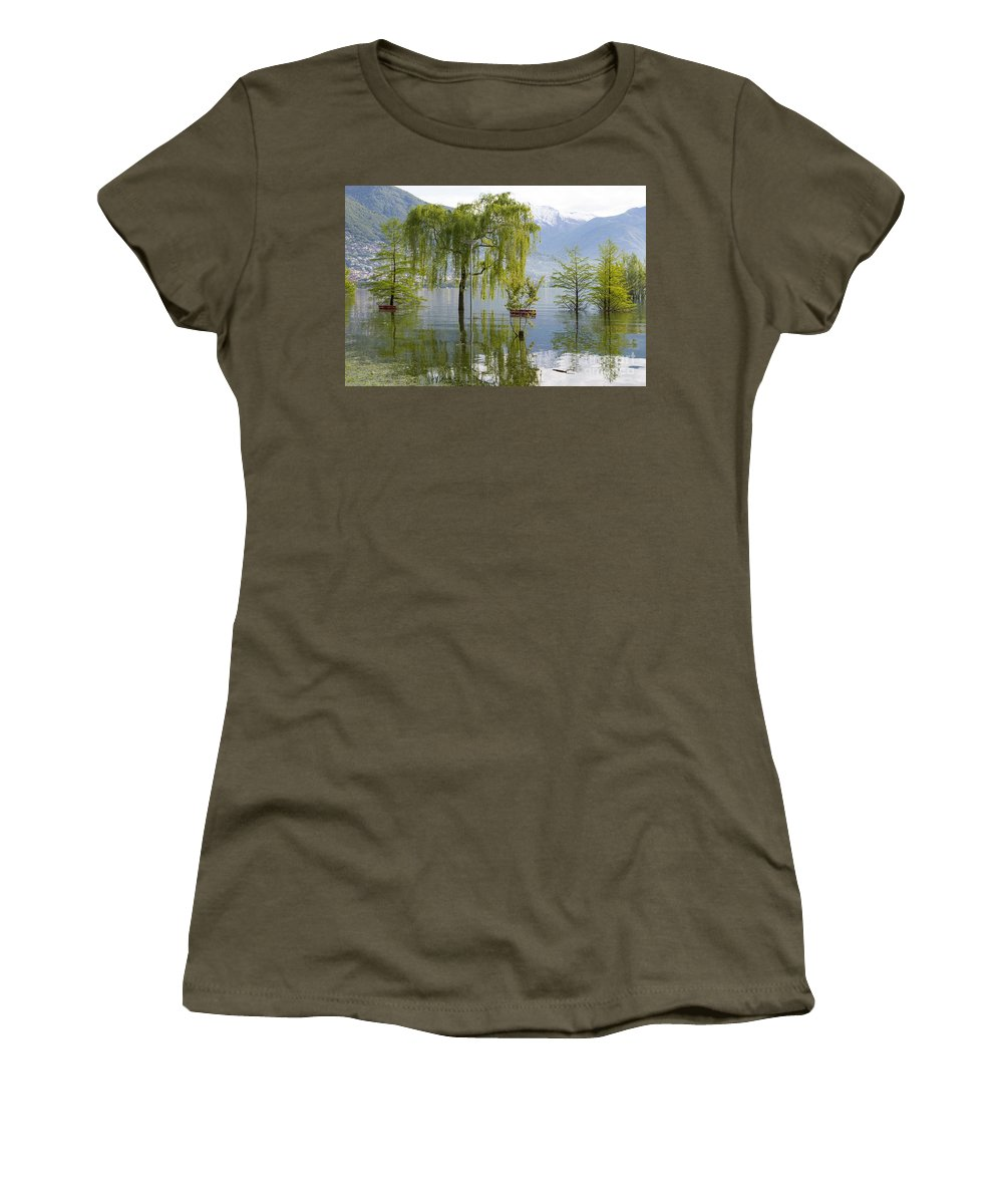 Bench Women's T-Shirt featuring the photograph Flooding Alpine Lake by Mats Silvan