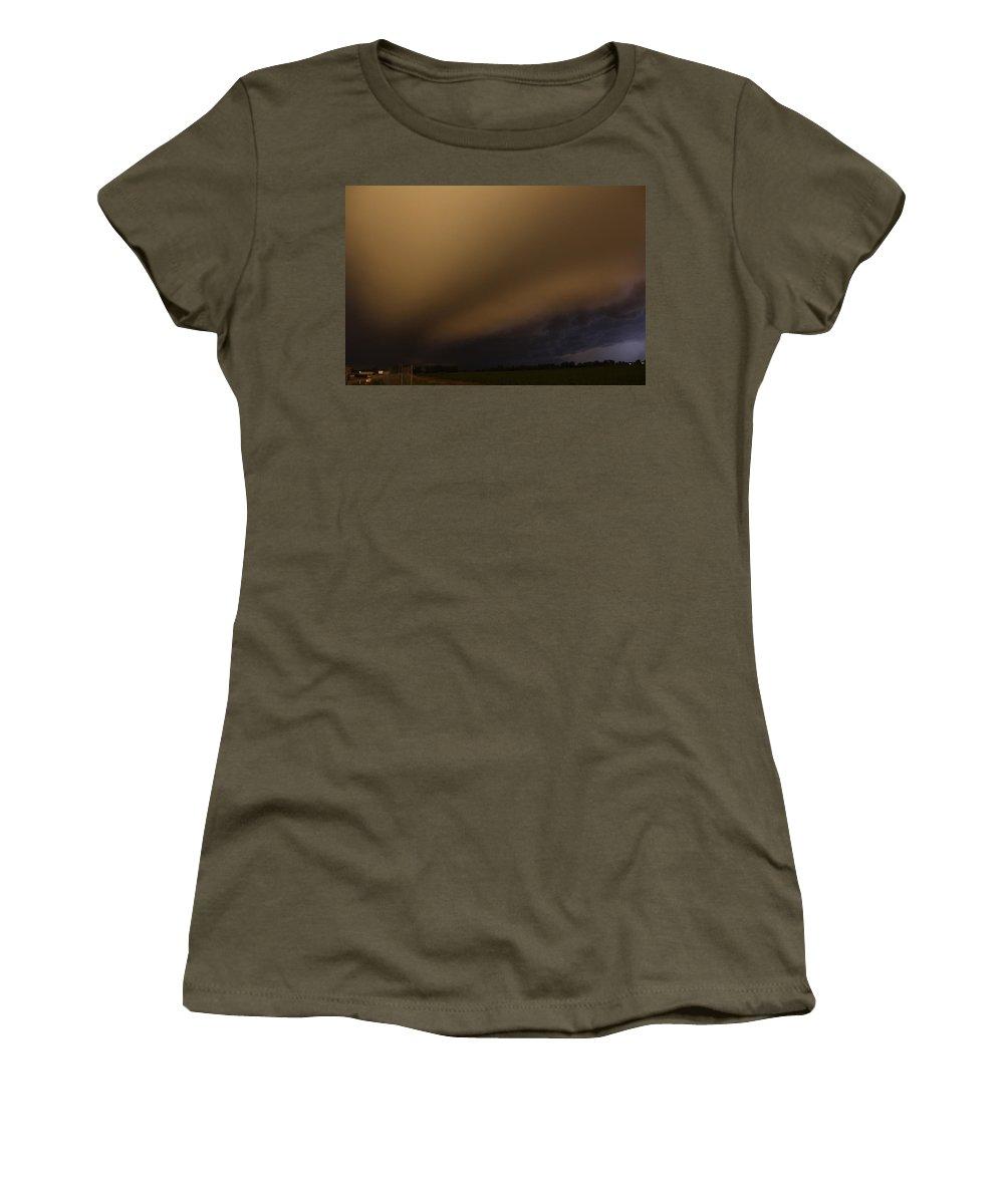 Stormscape Women's T-Shirt (Athletic Fit) featuring the photograph Late Night Nebraska Shelf Cloud by NebraskaSC