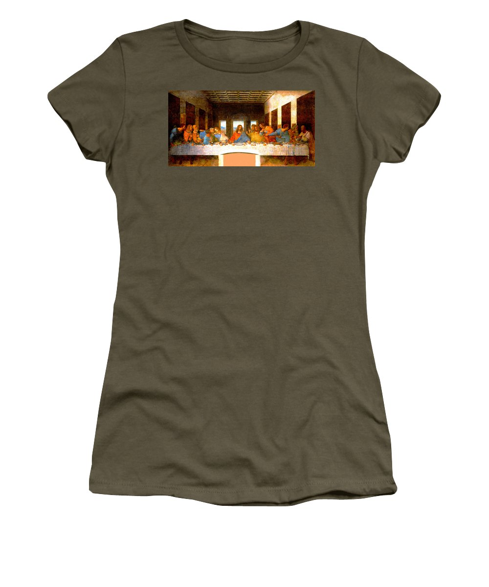 Leonardo Da Vinci Women's T-Shirt featuring the digital art The Last Supper by Leonardo da Vinci