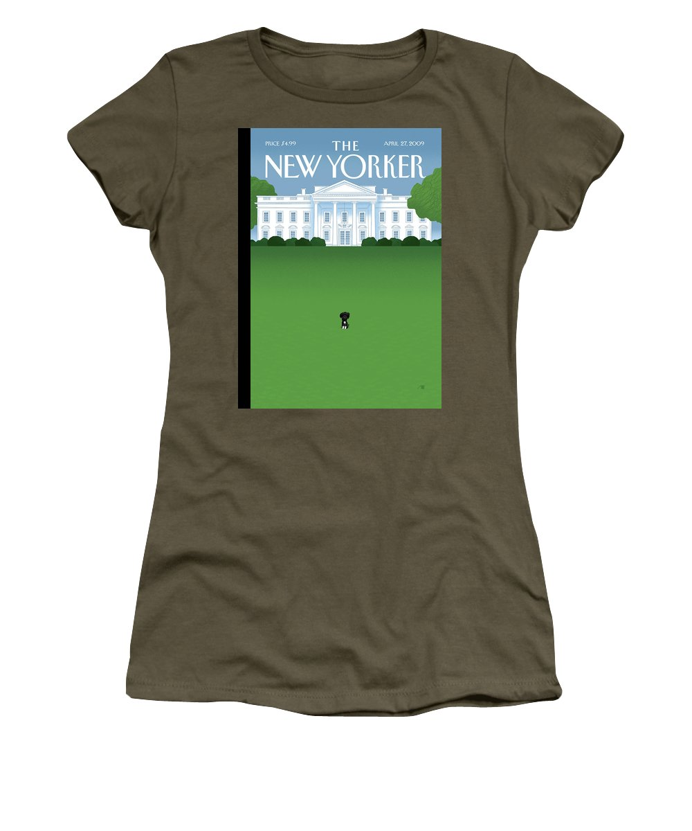 Obama Women's T-Shirt featuring the painting New Yorker April 27th, 2009 by Bob Staake