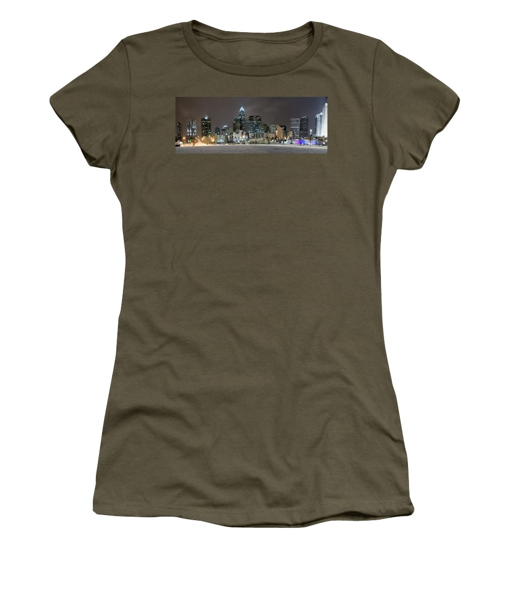 Charlotte Women's T-Shirt featuring the photograph Charlotte Queen City Skyline Near Romare Bearden Park In Winter Snow by Alex Grichenko