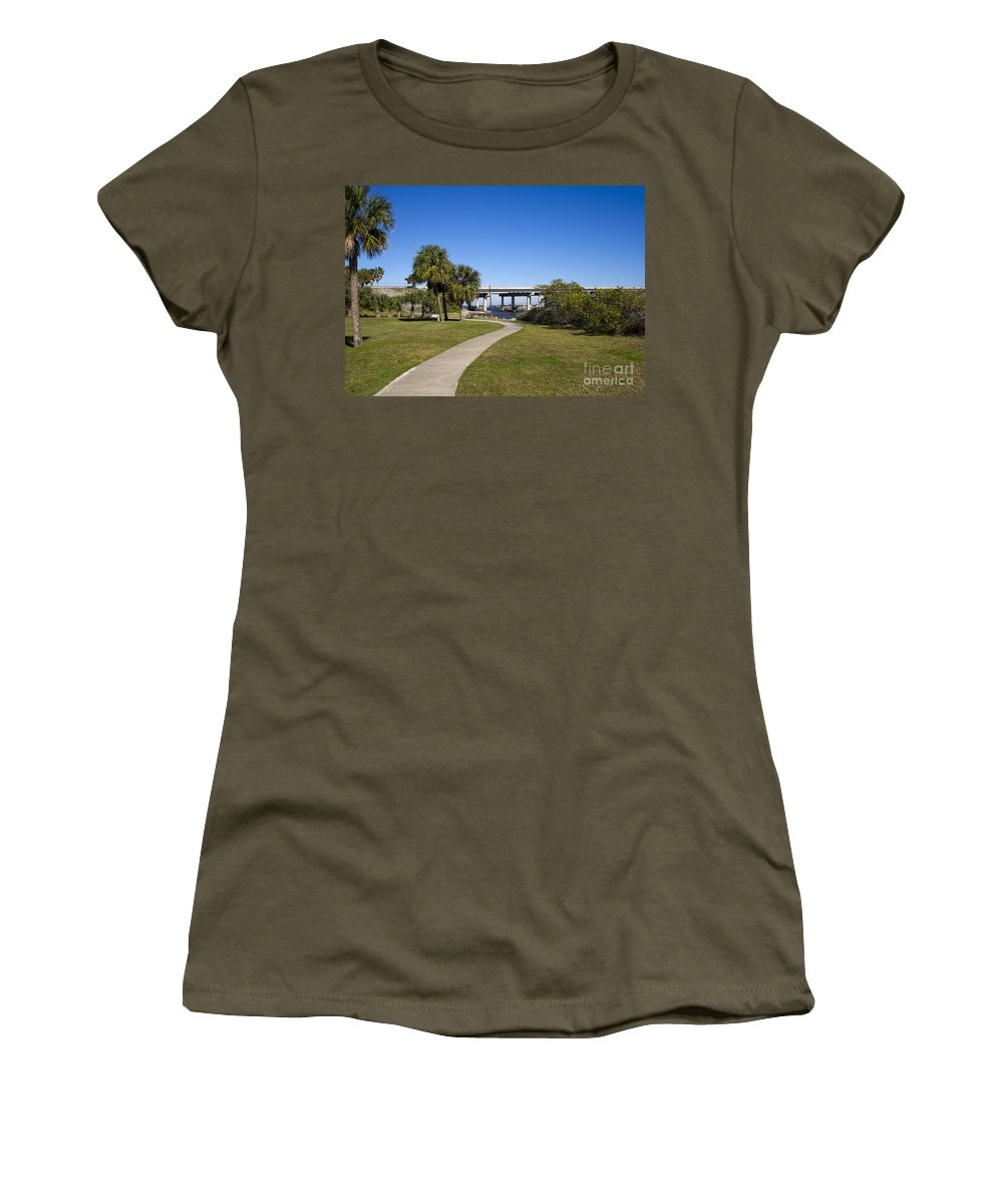 Melbourne Women's T-Shirt featuring the photograph Melbourne Causeway To Indialantic In Central Florida From Geiger by Allan Hughes