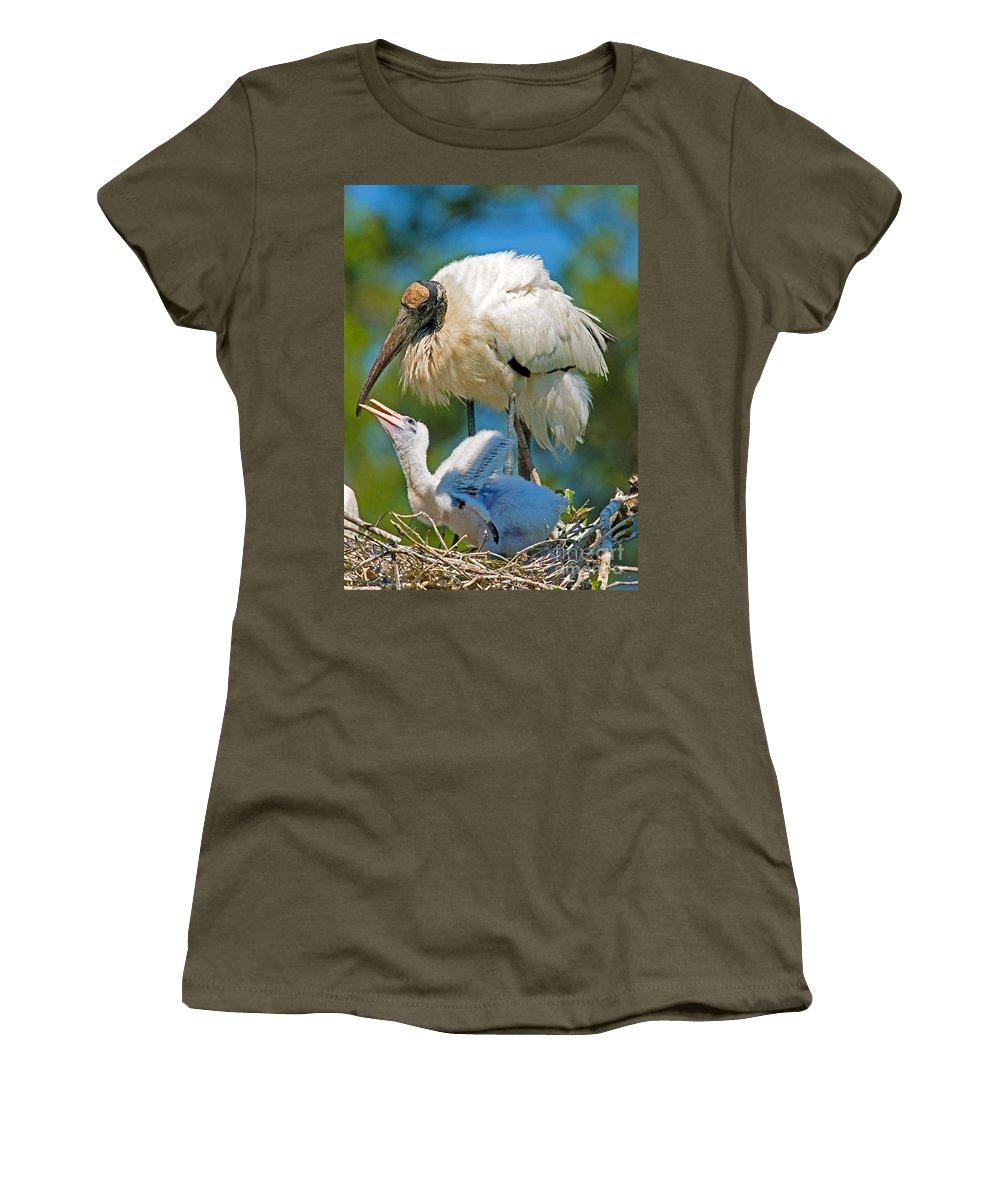 Nature Women's T-Shirt featuring the photograph Wood Storks by Millard H. Sharp