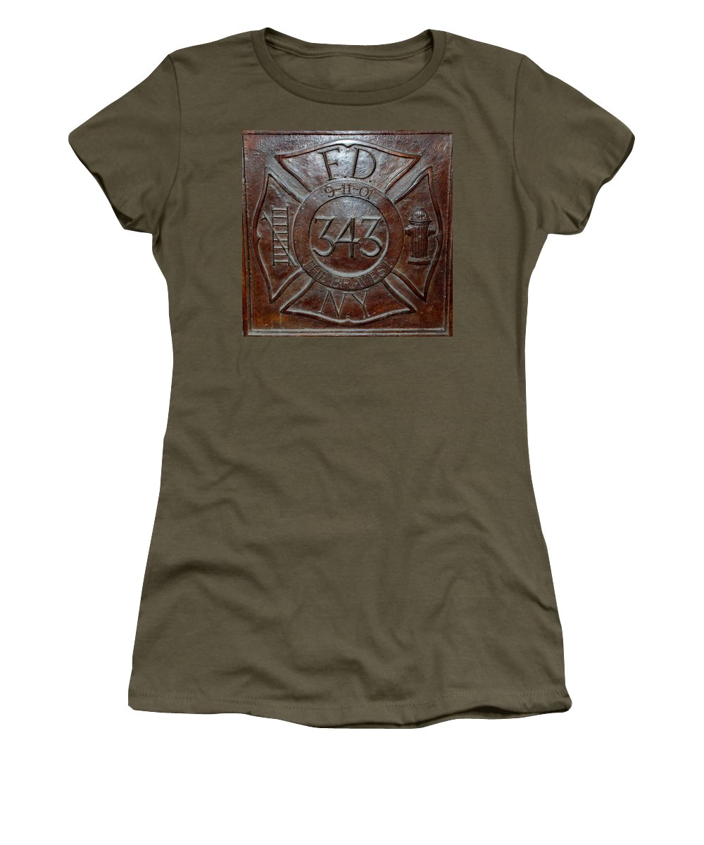 Fdny Women's T-Shirt (Athletic Fit) featuring the photograph 9 11 01 F D N Y 343 by Rob Hans