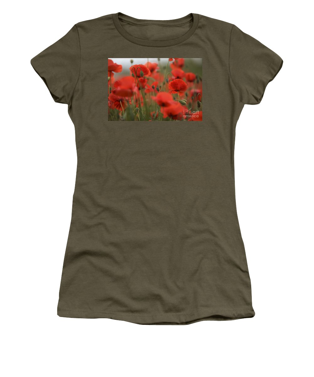 Poppy Women's T-Shirt (Athletic Fit) featuring the photograph Red by Nailia Schwarz