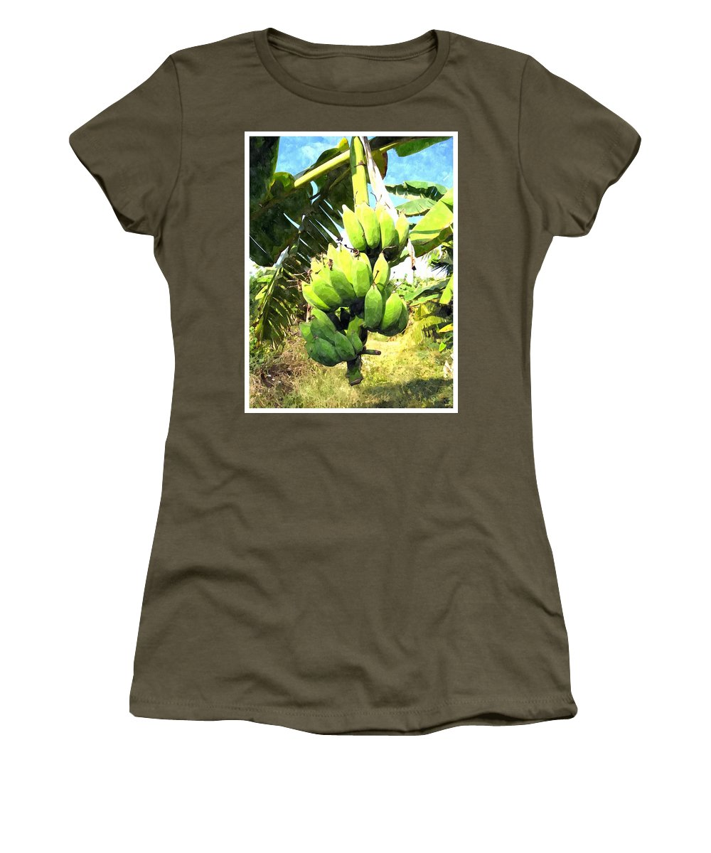 Banana Women's T-Shirt featuring the painting A Banana Field In Late Afternoon Sunlight With Sky And Clouds by Jeelan Clark