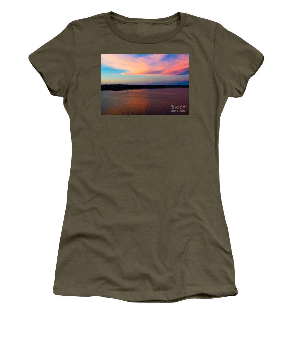 A Cloudy Stork Women's T-Shirt featuring the photograph A Cloudy Stork by Mae Wertz