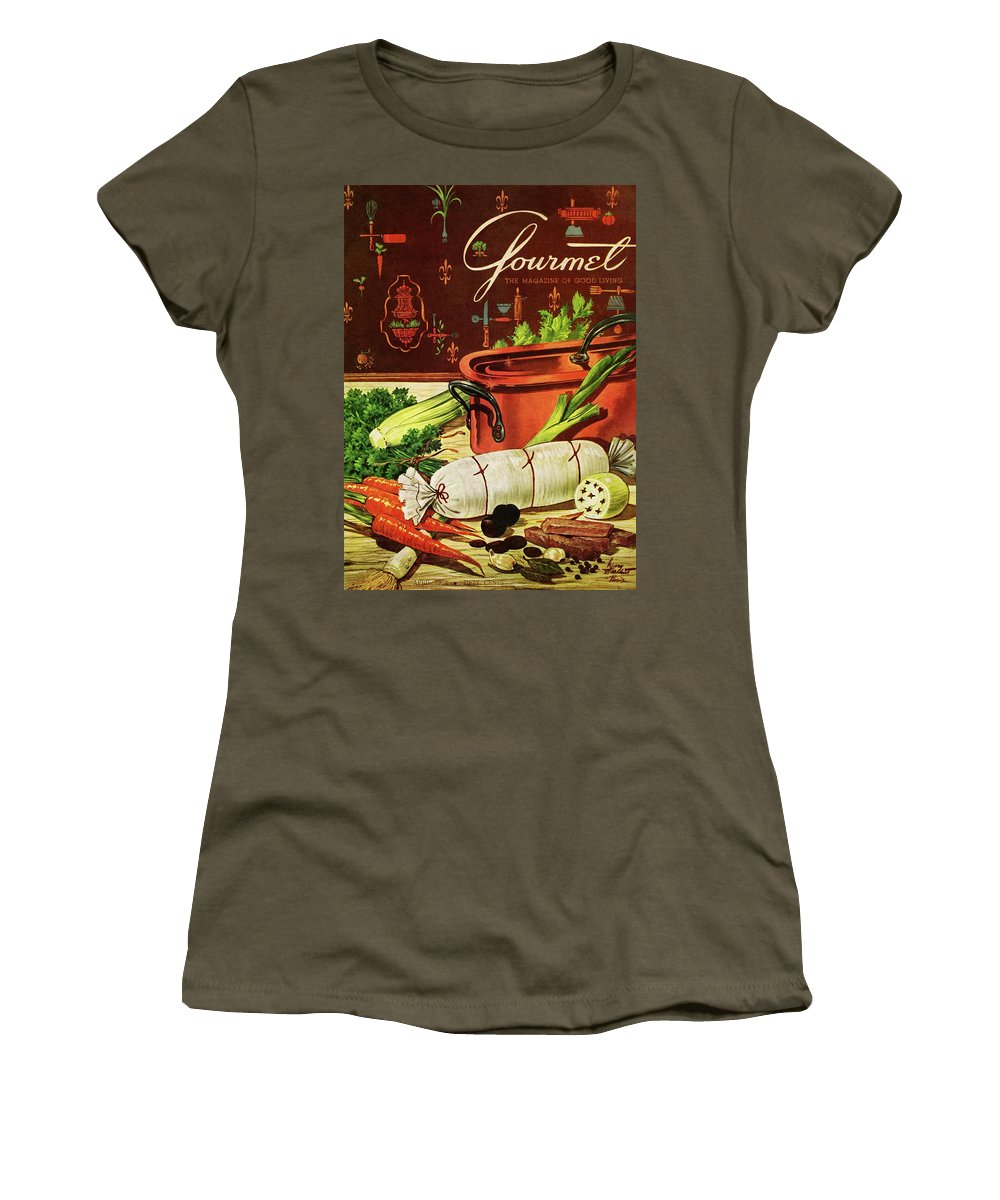 Food Women's T-Shirt featuring the photograph A Copper Pot And Ingredients Of Ballontine De by Henry Stahlhut