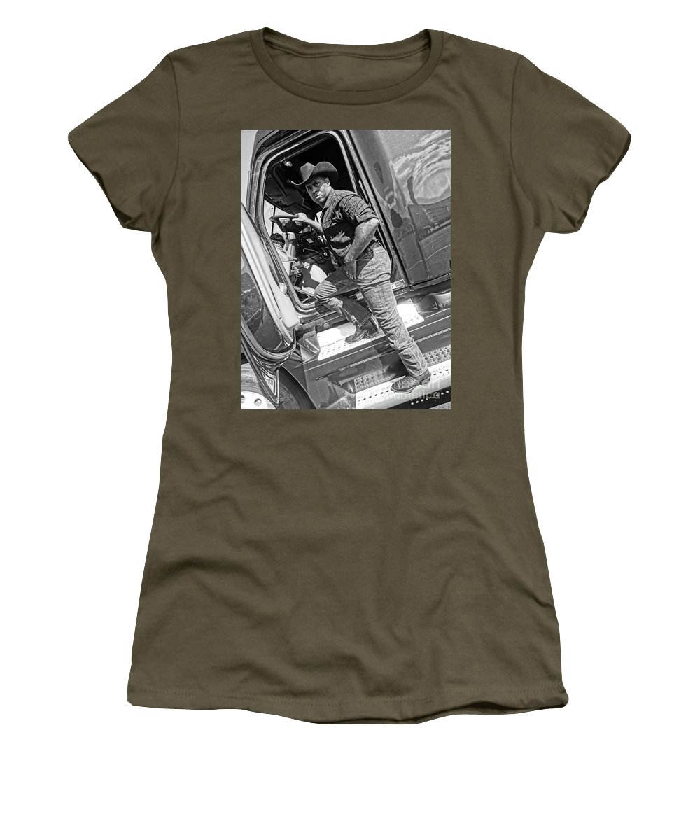 Cowboy Women's T-Shirt (Athletic Fit) featuring the photograph A Cowboy And His Truck by Korynn Neil