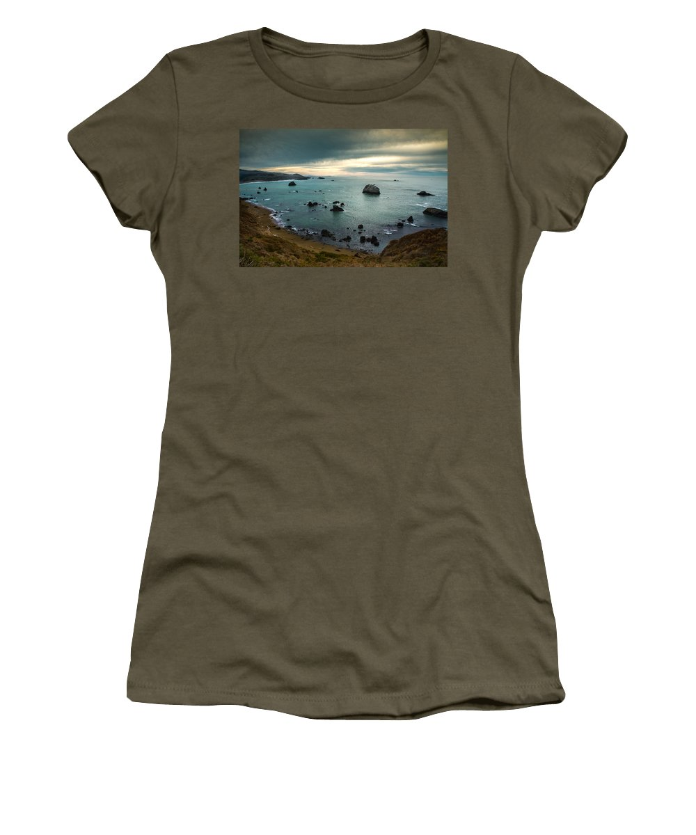 Ocean Women's T-Shirt featuring the photograph A Dark Day At Sea by Bryant Coffey