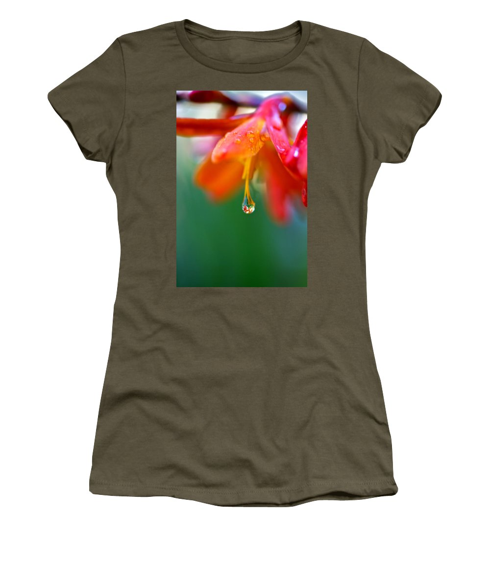 Water Droplet Women's T-Shirt featuring the photograph A Delicate Touch - Water Droplet - Orange Flower by Marie Jamieson