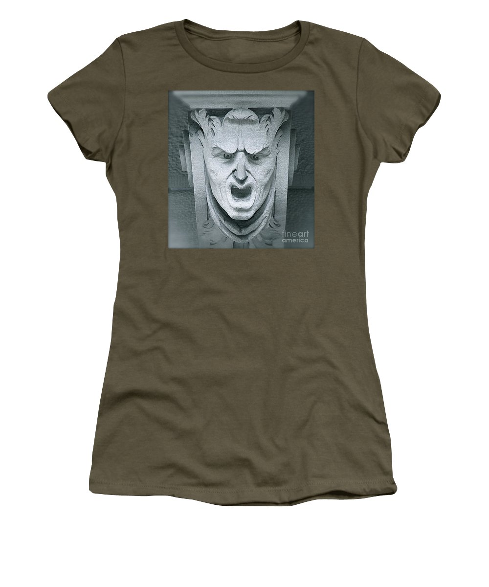 Face Women's T-Shirt (Athletic Fit) featuring the photograph A Face In A Facade by Bobby Cole